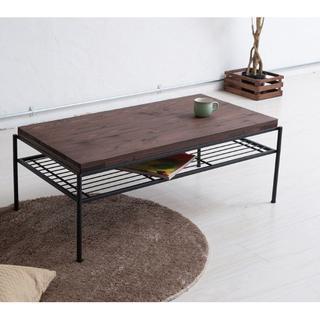 ローテーブル 棚付き レトロ モダン オシャレ カフェ テーブル