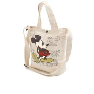 ディズニー(Disney)の新品♡ディズニー ミッキーマウス ショルダー ハンドバッグ きなり orグレー柄(ショルダーバッグ)