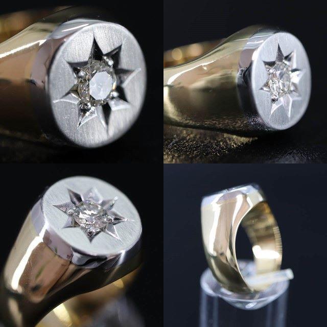 純金 プラチナ 印台 ダイヤモンド リング メンズのアクセサリー(リング(指輪))の商品写真