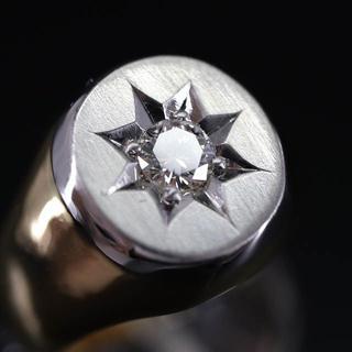 純金 プラチナ 印台 ダイヤモンド リング(リング(指輪))