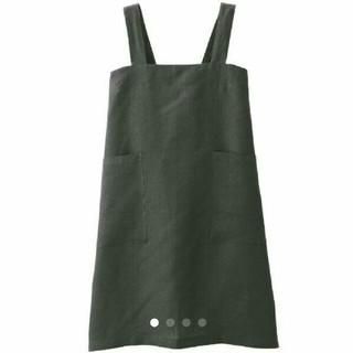 ムジルシリョウヒン(MUJI (無印良品))の無印良品 肩掛け エプロン 麻平織 墨黒 Mサイズ 身丈79センチ(収納/キッチン雑貨)