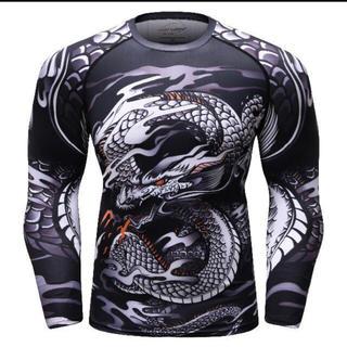 長袖 トレーニング Tシャツ スポーツ ランニング  メンズ 龍 ドラゴン(Tシャツ/カットソー(七分/長袖))