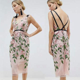 asos - asos 刺繍 ワンピース ドレス