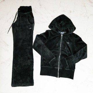 adidas - adidas ベロア セットアップ ブラック Lサイズ