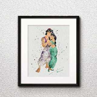 Disney - 日本未発売!アラジン&ジャスミン・アートポスター【額縁つき・送料無料!】