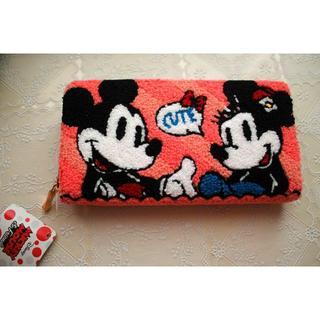 ディズニー(Disney)の新品♥ミッキー&ミニー 長財布 ふわふわ ディズニー ファスナー もこもこ(財布)