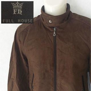 【FULL HOUSE】 美品 フルハウス ブラウンベロアブルゾン M(ノーカラージャケット)