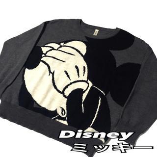ディズニー(Disney)の【Disney】ディズニーミッキービックフェイス ニット セーター L グレー(ニット/セーター)