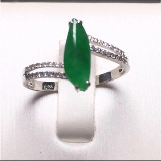 【高級】天然  本翡翠 氷種 グリーン ヒスイ リング k18 ダイヤ(リング(指輪))