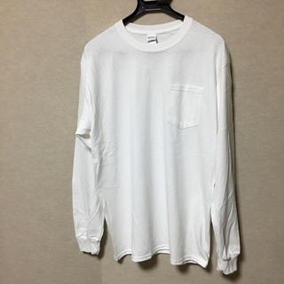ギルタン(GILDAN)の新品 GILDAN 長袖ロンT ポケット付き ホワイト XL(Tシャツ/カットソー(七分/長袖))