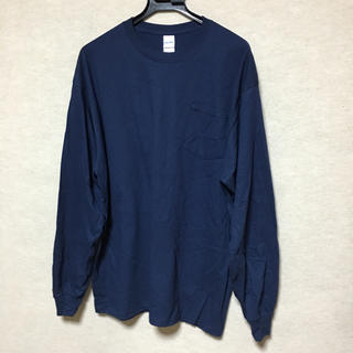 ギルタン(GILDAN)の新品 GILDAN 長袖ロンT ポケット付き ネイビー XL(Tシャツ/カットソー(七分/長袖))