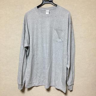 ギルタン(GILDAN)の新品 GILDAN 長袖ロンT ポケット付き グレー XL(Tシャツ/カットソー(七分/長袖))