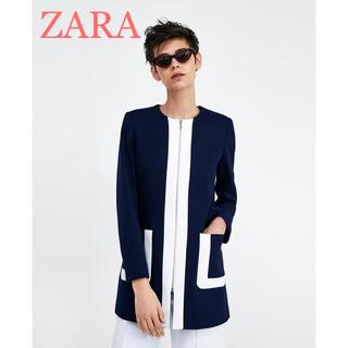 ザラ(ZARA)のsale!新品タグ付☆ZARAザラ☆プレス加工バイカラーフロックコート(ノーカラージャケット)