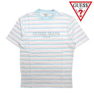 ゲス(GUESS)の正規品 XS Guess tシャツ パステル ブルー ピンク ボーダー asap(Tシャツ/カットソー(半袖/袖なし))