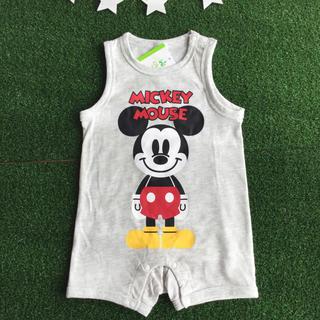 ディズニー(Disney)の【 90 】ミッキー ノースリーブ ロンパース カバーオール ディズニー グレー(下着)