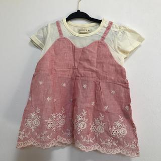 しまむら - しまむら 半袖重ね着風トップス90サイズ ストライプ 刺繍 保育園幼稚園普段着