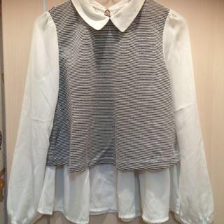 ミスティウーマン(mysty woman)の襟付きペプラムトップス(Tシャツ(半袖/袖なし))