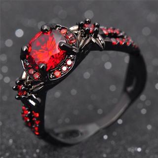ブラック レッド ダイヤ リング アクセサリー(リング(指輪))