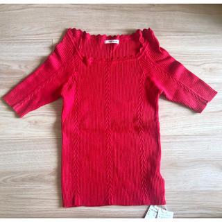 レディアゼル(REDYAZEL)のタグ付き新品 レディアゼル リブニット トップス 赤(カットソー(半袖/袖なし))