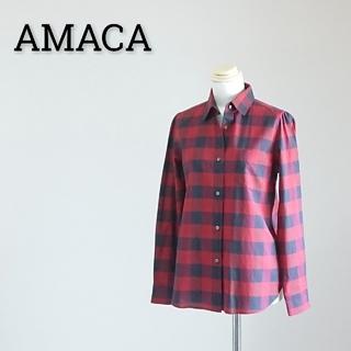 アマカ(AMACA)のAMACA アマカ 長袖シャツ ブラウス チェック レディース(シャツ/ブラウス(長袖/七分))