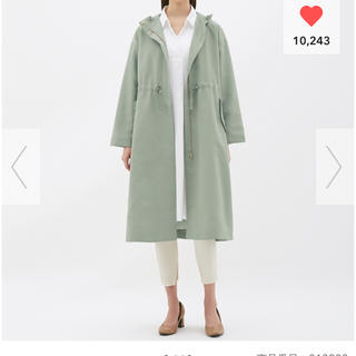 ジーユー(GU)の新品 gu  ドローストリングフーデッドコート Sサイズ   オリーブ(スプリングコート)