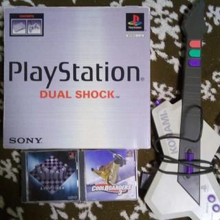 プレイステーション(PlayStation)の美品❢初代プレイステーションフルセットディスク&ギター付き(家庭用ゲーム本体)