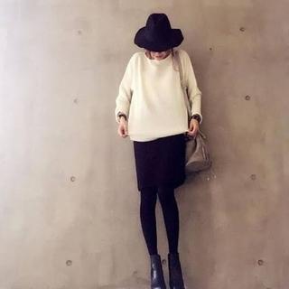 ユニクロ(UNIQLO)のユニクロ スウェット スカート ブラック(ひざ丈スカート)