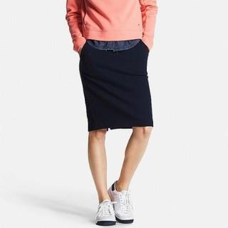 ユニクロ(UNIQLO)のユニクロ スウェット スカート ネイビー(ひざ丈スカート)