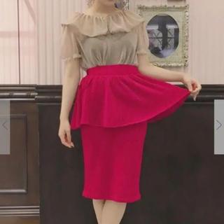 イーハイフンワールドギャラリーボンボン(E hyphen world gallery BonBon)のイーハイフン ボンボン ラメペプラムスカート(ひざ丈スカート)