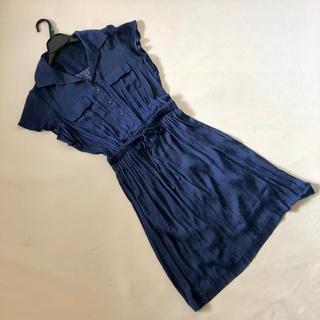 オフオン(OFUON)のオフオンOFUON紺ネイビーとろみ素材半袖ワンピースサイズ40(ひざ丈ワンピース)