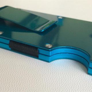 マネークリップ付 クレジットカードケース 磁気防止 12枚収納 ブルー(マネークリップ)