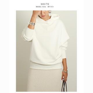 ザラ(ZARA)のmeri 春の新作 フーディー トレーナー ホワイト 韓国ファッション(トレーナー/スウェット)