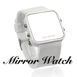 限定価格! 腕時計 メンズ レディース デジタル 鏡面 ミラー  ホワイト(腕時計(デジタル))