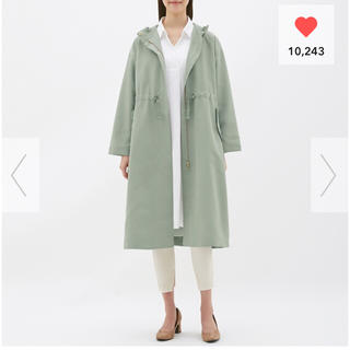 ジーユー(GU)の新品⭐️GU ドローストリングフーデッドコート オリーブ Sサイズ(スプリングコート)