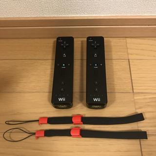 ウィー(Wii)の【任天堂純正品】Wiiクロリモコン2個セット(新品ストラップ付)(家庭用ゲーム本体)