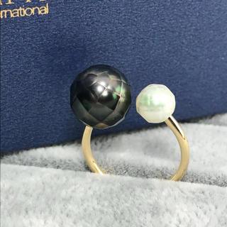 【SALE】◆グリーングラデ◆タヒチ&あこや 華パールリング(リング(指輪))