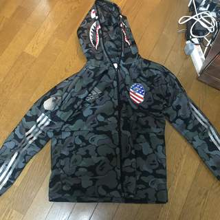 A BATHING APE - bape adidas SHARK HOODIE BLACK