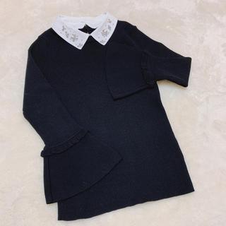 リランドチュール(Rirandture)のrirandture ビジュー襟 袖フリルニット(ニット/セーター)