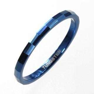 【新品】タングステンダイアモンドカットリングシルバー細身ブルー 17号(リング(指輪))