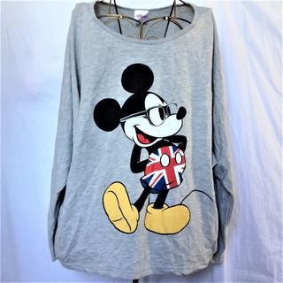 ディズニー(Disney)の【ディズニー ミッキーマウス 長袖ティシャツ グレー3L】 (カットソー(長袖/七分))
