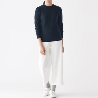 MUJI (無印良品) - 【新品】無印良品首コットンシルククルーネックセーター/ネイビー/M