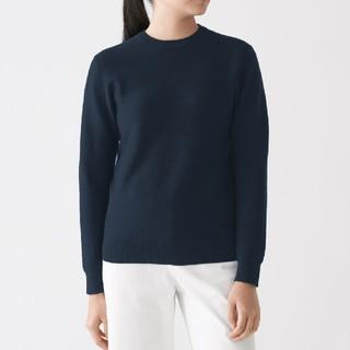 MUJI (無印良品) - ◎新品◎無印良品首コットンシルククルーネックセーター/ネイビー/M