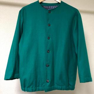 ウール ノーカラージャケット 緑(ノーカラージャケット)