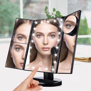 送料込#新品#三面鏡 折りたたみ式 LED メイク 化粧鏡 女優ミラー 鏡 卓上(卓上ミラー)