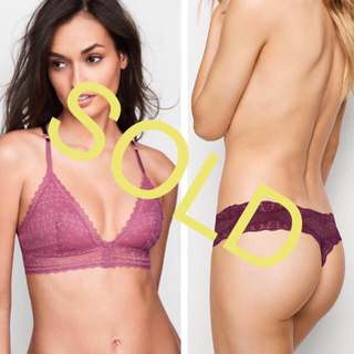 ヴィクトリアズシークレット(Victoria's Secret)の新品❤️ヴィクトリアシークレット レースブラレット ラメ Tバック(ブラ&ショーツセット)