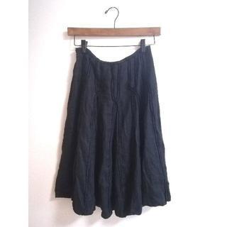 サンタモニカ(Santa Monica)の【vintage】ビンテージ ヴィンテージ 古着 麻 リネン 黒 スカート(ひざ丈スカート)