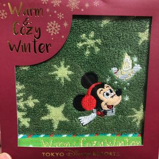 ディズニー(Disney)の美品 未使用 ミッキー刺繍  ミニタオル(ハンカチ)