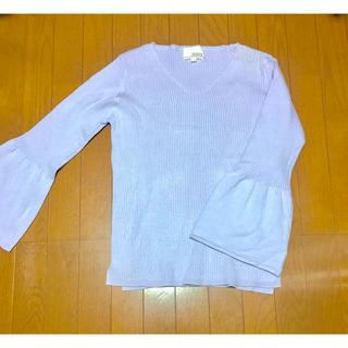 シマムラ(しまむら)の未使用 ベルスリーブ リブ ニット トップス パステルカラー 紫 パープル(ニット/セーター)