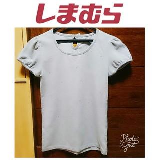 シマムラ(しまむら)の美品 しまむら ビジュー装飾 トップス パフスリーブ バックリボン グレー(Tシャツ(半袖/袖なし))