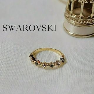 【SWAROVSKI】ブラックダイヤ×シルク リング(リング)